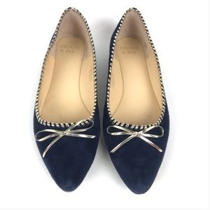 Crown & Ivy | Navy & Silver Pointy Bow Flats